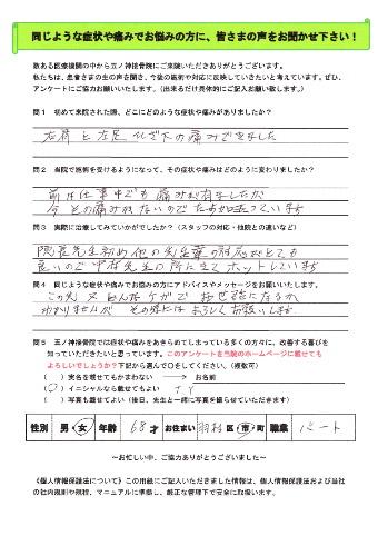 T.Yさん 女性 68歳 お住まい:羽村市 パート